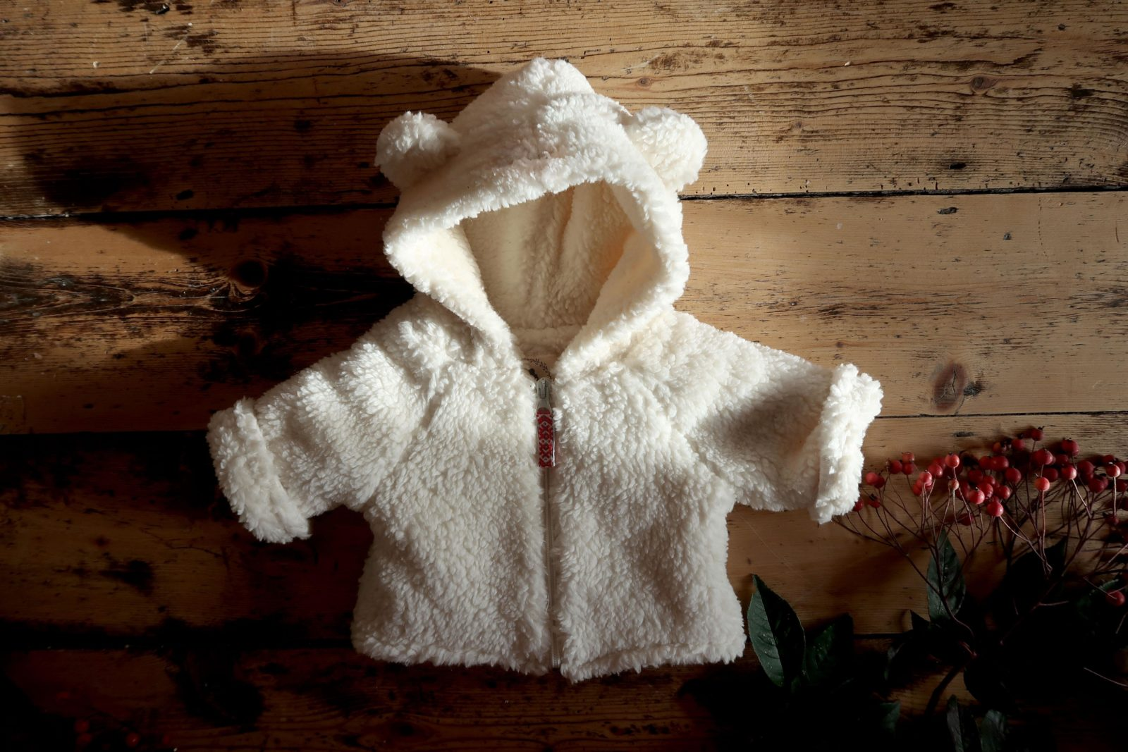 Hygge Hoodie Organic Shearling Cotton Wood