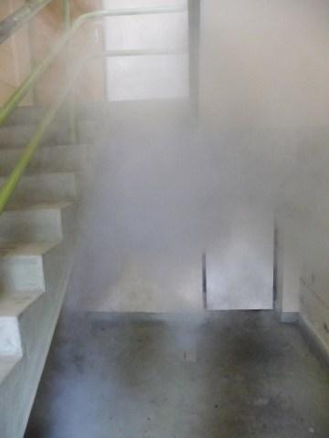 Indiscernability1 Installation image Smoke machine, Fluro light and polyprolene