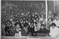Audience for a performance of the Akhil Bharat Nepal Ekata Samaj cultural group, Jabalpur, Maharashtra. 1980s; exact date unknown.