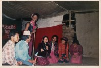 "Chunu Gurung singing with other members of Chitwan Cultural Family, 1991. Comedy song ""Girija Paryo Kattrakai"" (Girija [Prasad Koirala of the Nepali Congress Party] was Flabbergasted.)"