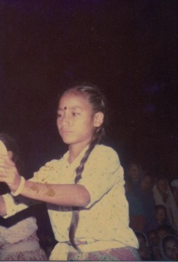 Gita Pakhrin, daughter of Khusiram Pakhrin, dancing in Chitwan, 1980s. She's been an artist in Chitwan Cultural Family and other groups since age 7.