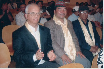 Khusiram Pakhrin and unidentified other artist, with Nepali ambassador to Switzerland, 2009.
