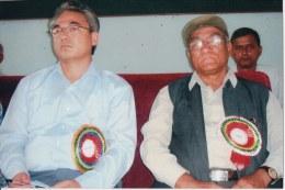Khusiram Pakhrin (right) with Comrade Badal (Ram Bahadur Thapa, left); c. 2010.