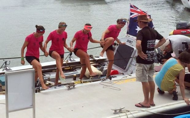 The Coxless Crew step test their sea legs out on shore.