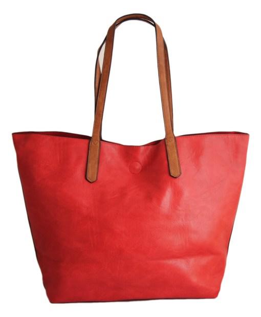 Дамска чанта 01-17-164-52б червена с кафяви дръжки