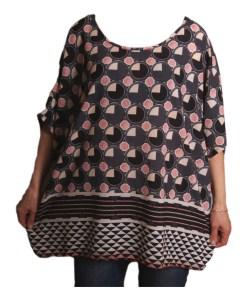 Дамска блуза XL 119-273-3 със сиви кръгчета