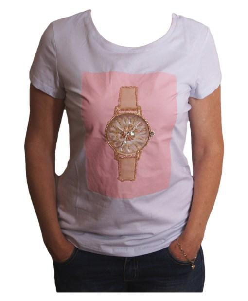 Дамска блуза 0019-571-56 цвят бял с часовник