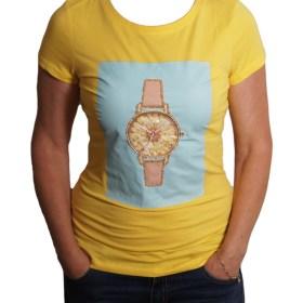 Дамска блуза 0019-571-55 цвят жълт с часовник