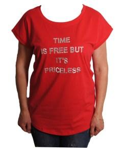 Дамска блуза 0019-570-60 цвят червен с надписи