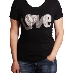 Дамска блуза 0019-571-53 цвят черен с надпис