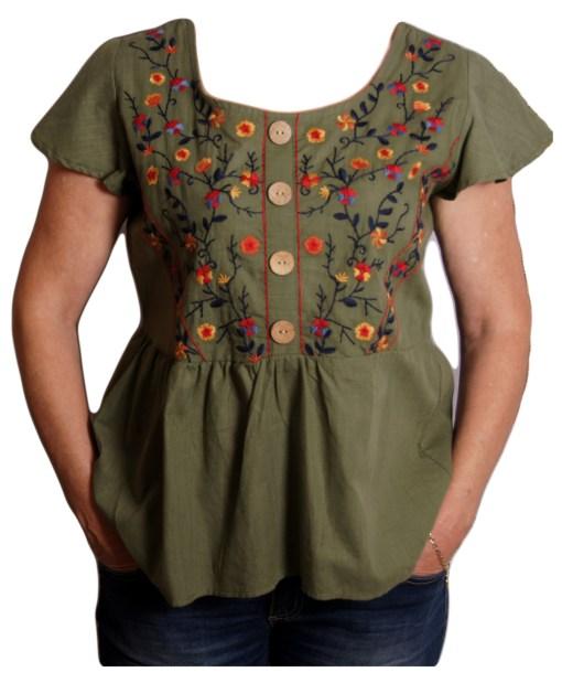 Дамска блуза 0019-572-2 цвят зелен с цветя