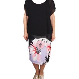 Дамска рокля XL 18-191-1 цвят черна с цветя