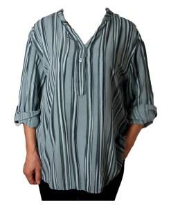 Дамска блуза XL 119-257-4 райе в зелено