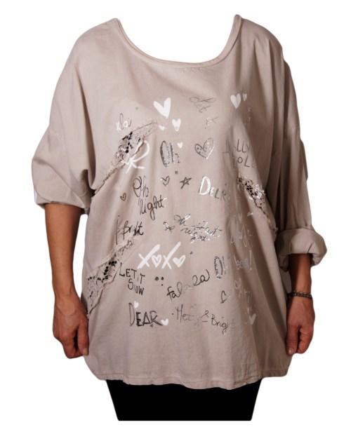 Дамска блуза XL 119-257-56 цвят бежов с надписи