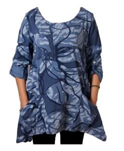 Дамска блуза XL 119-257-68 тип туника в синьо