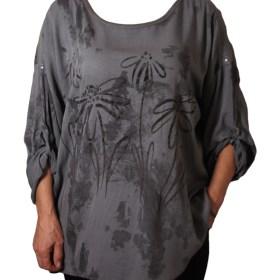 Дамска блуза XL 119-257-61 сива с цветя
