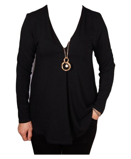Дамска блуза 00-579-4 в черно и гердан