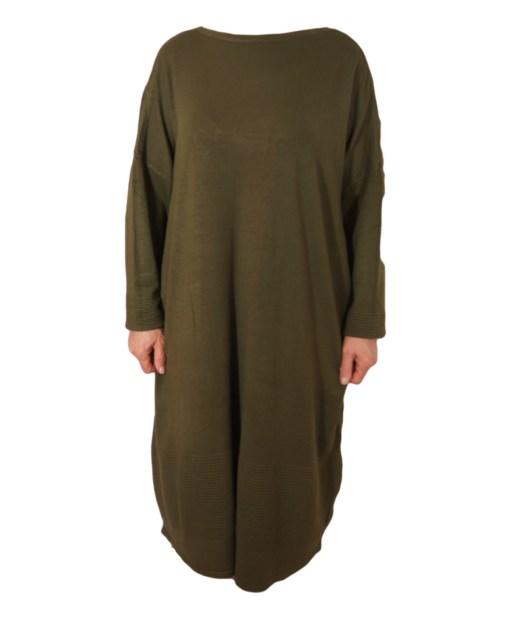 Дамска рокля XL 18-191-85 цвят зелен