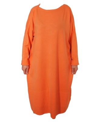 Дамска рокля XL 18-191-86 цвят оранжев
