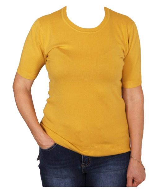 Дамски пуловер 2-397-11 цвят горчица
