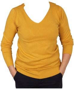 Дамски пуловер 2-395-12 цвят горчица