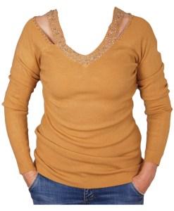 Дамски пуловер 2-396-13 цвят охра