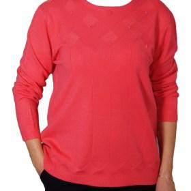 Дамски пуловер XL 2-396-31 цвят корал