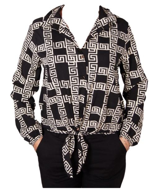 Дамска блуза 00-577-3 в бяло и черно