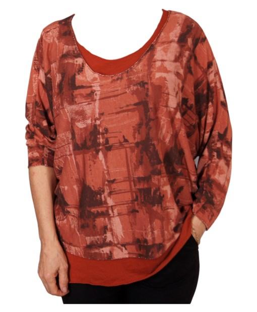 Дамска блуза XL 119-255-31 комплект с потник цвят кафяв