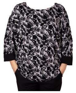 Дамска блуза XL 119-255-43 на черни цветя