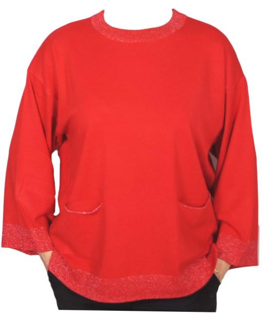 Дамски пуловер XL 2-395-25цвят червен