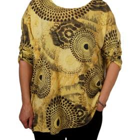 Дамска блуза XL 119-256-3 цвят горчица на кръгове