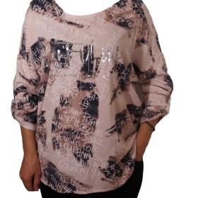 Дамска блуза XL 119-256-52 с надписи цвят бледо розов