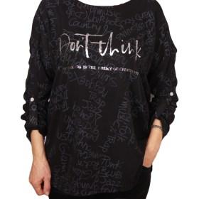 Дамска блуза XL 119-256-51 с надписи цвят черен