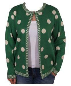 Дамска жилетка 20-100-7 на точки цвят зелен