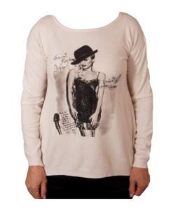 Дамски пуловер 2-400-56 с момиче цвят екрю