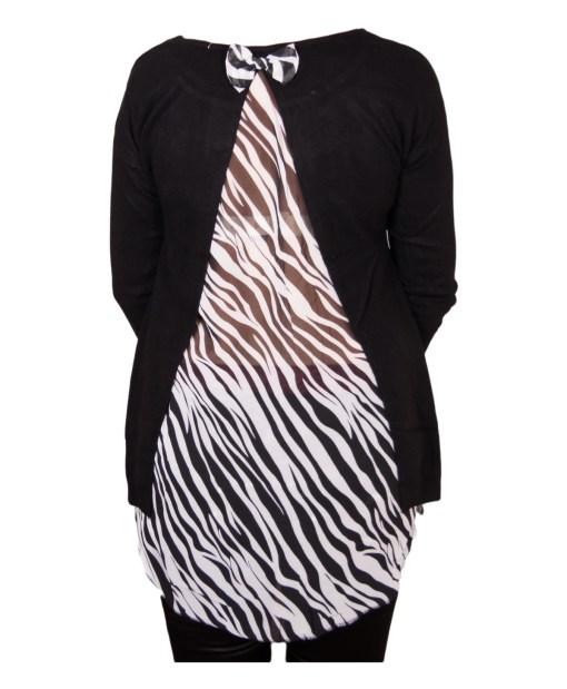 Дамски пуловер 2-400-54 с момиче цвят черен