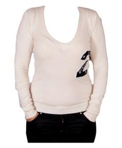 Дамски пуловер 2-400-60 надписи цвят бял