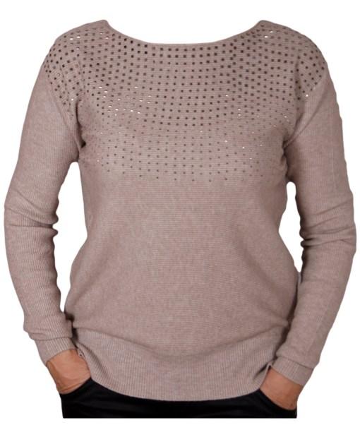 Дамски пуловер 2-398-4 с камъчета цвят кафяв