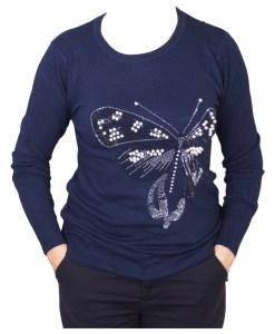Дамски пуловер 2-390-1 цвят сив
