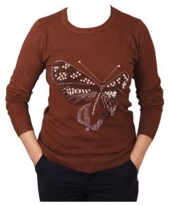 Дамски пуловер 2-390-3 цвят кафяв