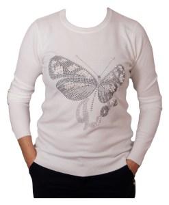 Дамски пуловер 2-390-4 цвят бял