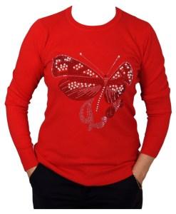 Дамски пуловер 2-390-5 цвят червен