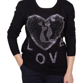 Дамски пуловер 2-390-64 цвят черен