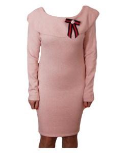 Дамска рокля 017-195-3 цвят розов