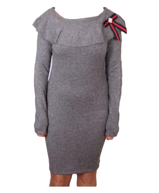 Дамска рокля 017-195-4 цвят сив