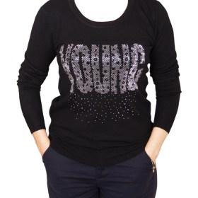 Дамски пуловер 2-390-92 цвят черен