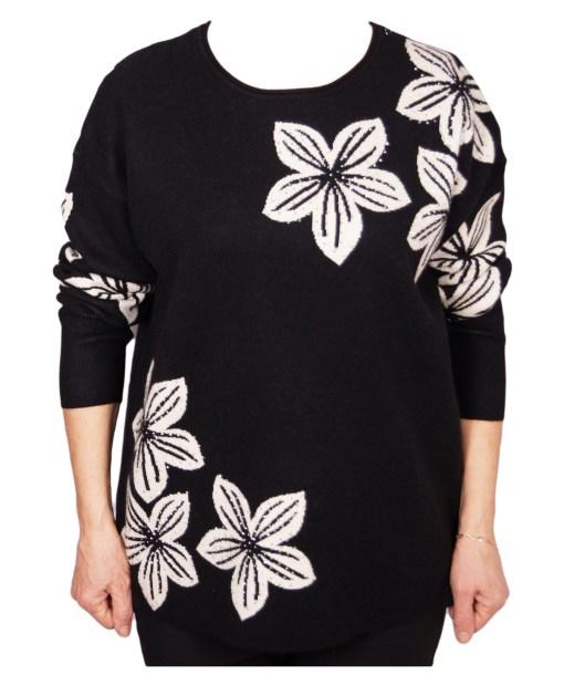 Дамски пуловер XL 2-394-1цвят черен