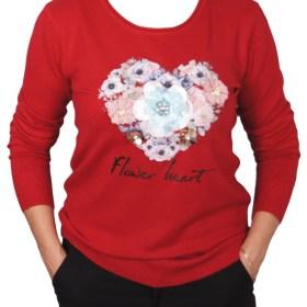 Дамски пуловер 2-390-70 цвят червен