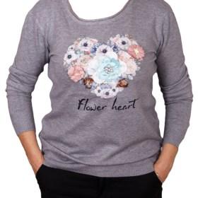 Дамски пуловер 2-390-71 цвят сив